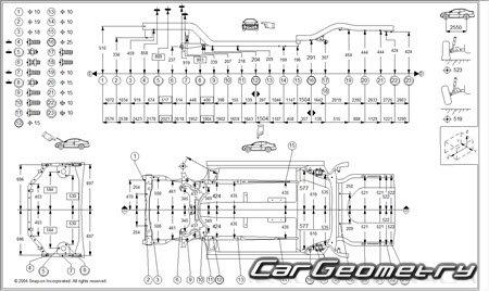 Контрольные размеры кузова Тойота Приус 1.5 1997-2003