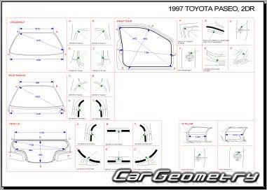 Кузовные размеры Toyota Paseo (EL54) 1996-1999 Collision