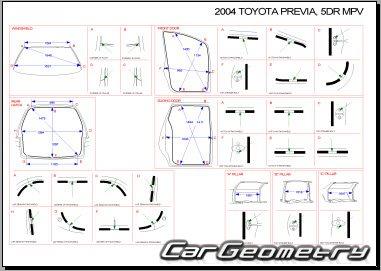 Кузовные размеры Toyota Previa (Tarago, Estima) 2000–2006