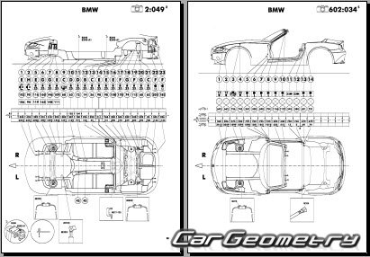 кузовные размеры BMW Z4 (E85) Roadster 2003-2009 и BMW Z4