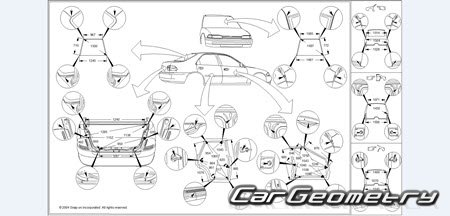 Размеры кузова Nissan Sentra (B15) 2000–2006