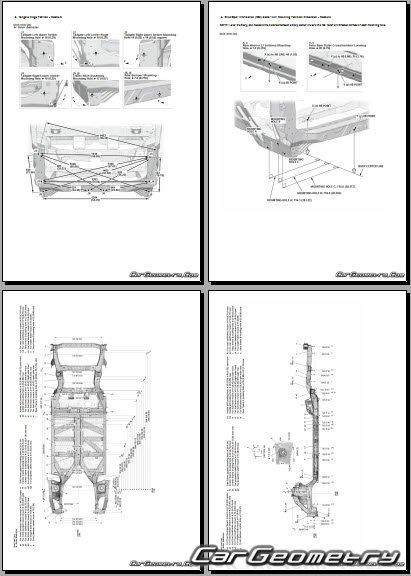 Размеры кузова Honda Ridgeline 2017-2023 Body Repair Manual
