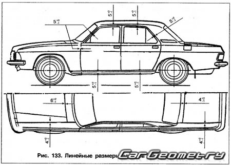 Размеры кузова ГАЗ-3102, ГАЗ-31029, ГАЗ-3110 Волга