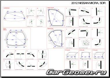 Кузовные размеры Nissan Micra (March) K13 2011-2018 Body