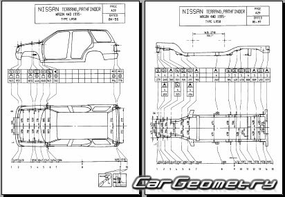 Размеры кузова Nissan Pathfinder (R50) 1996-2004 Body