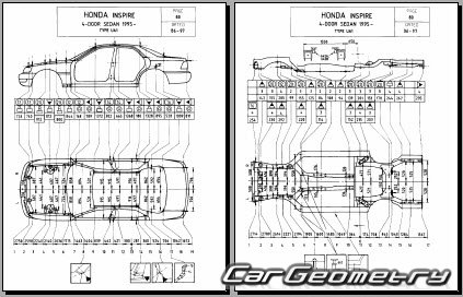Размеры кузова Honda Saber (UA1, UA2) 1995–1998