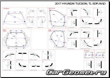 Контрольные размеры кузова Hyundai Tucson (TL) 2015-2021