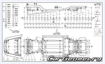Размеры кузова Acura TL 2004–2008 Body Repair Manual