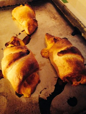 Sundaymorning sin: bacon cheese croissants!