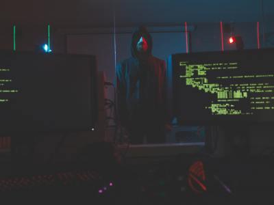 Cyber-terrorist in computer room