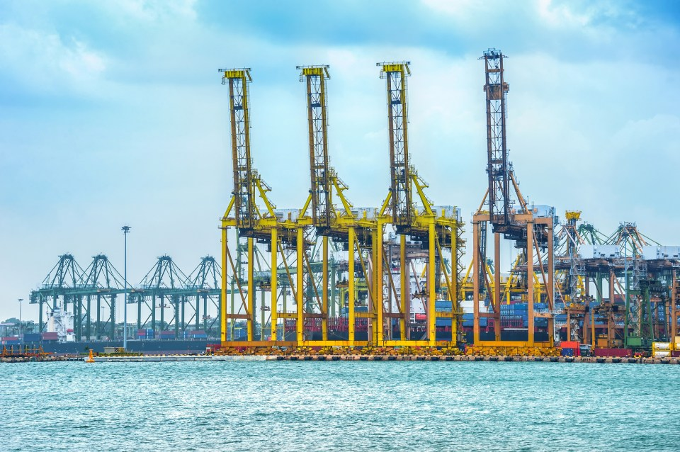 Freight cranes and containers in commercial port harbor, Singapore