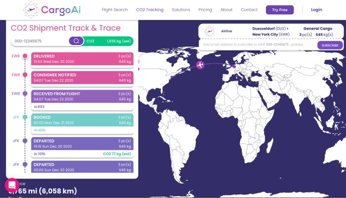 CargoAi - CO2 Tracking feature