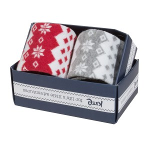 gift box baby socks grey red christmas theme