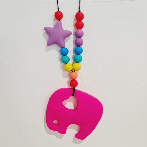 fiddle necklace teething bright pink boy girls elephant