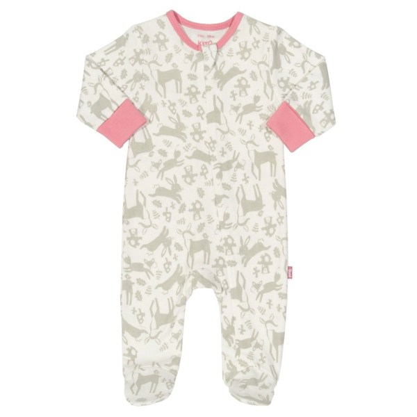 zipped babygrow with bunnies and toadstools, with a pink rose trim