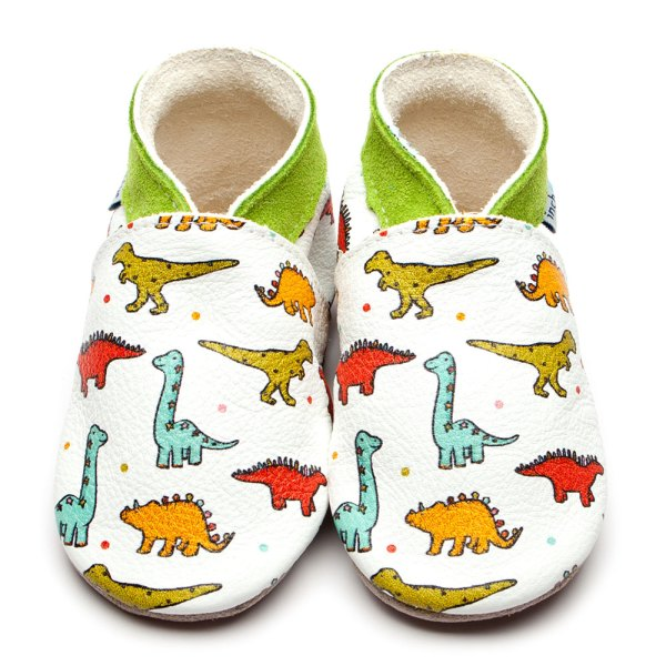Inch blue shoes with a white background, and printed dinosaurs of various colours