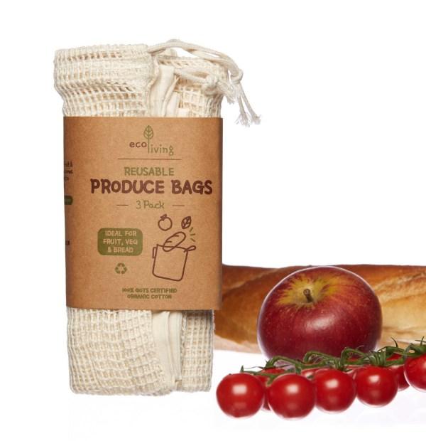 Organic Produce Bags & Bread Bag - 3 Pack