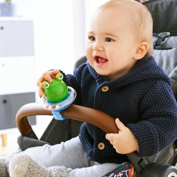 pram buggy baby toy frog