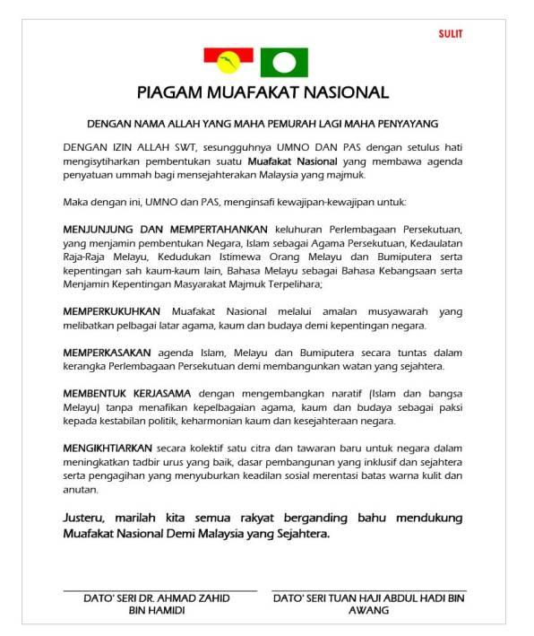 Isi Kandungan Piagam Muafakat Nasional, Strategi Pas-UMNO Hadapi PRU15.