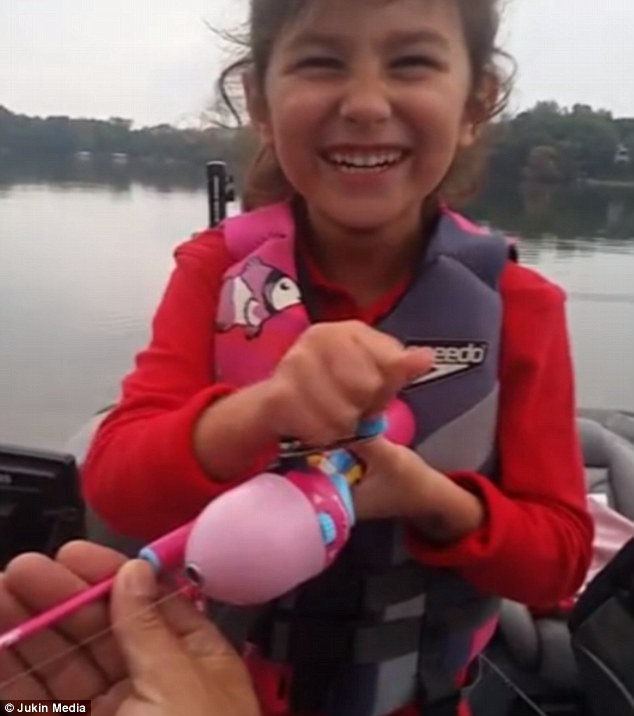 Little Avery Snags 5lb Bass With Her Barbie Fishing Poll