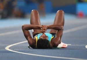 Nothing Left; Aftermath of Shaunae Miller literally leaving it all on the track. Even as she found out she had won gold, she still could not get up off the floor yet. True Champion.