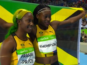 Jamaican Pride; Training partners Elaine Thompson and Shelly-Ann Fraser- Pryce posing together after capturing the Gold and Bronze medal respectively in the 100 meter sprint final in Rio.
