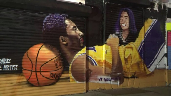 Local artist honors Kobe, Gianna Bryant with a mural in Brooklyn
