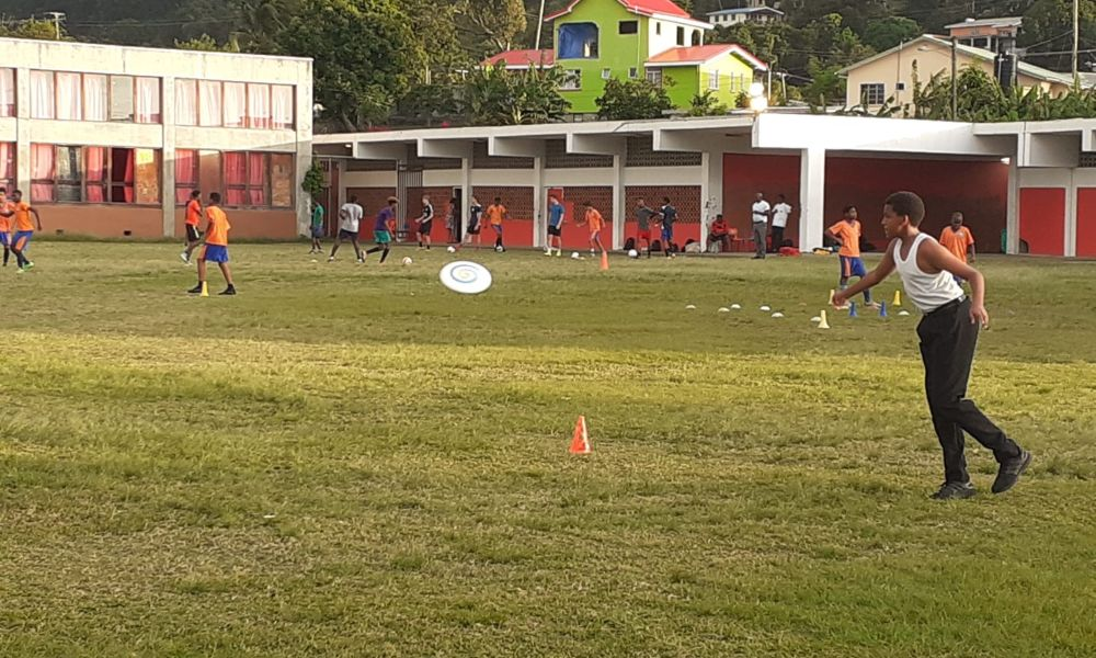 Ultimate frisbee after school session in St Lucia