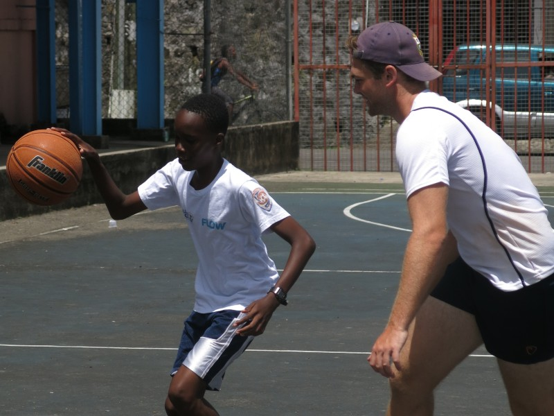 Basketball coach volunteering in St Lucia