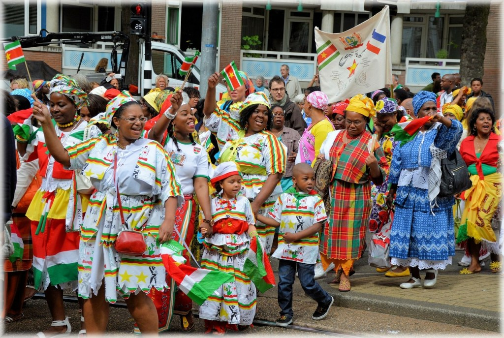 Members of the Surinamese community celebrating Keti Koti, an Emancipation festival commemorating the abolition of slavery in Suriname and the Dutch Antilles on July 1, 1863.