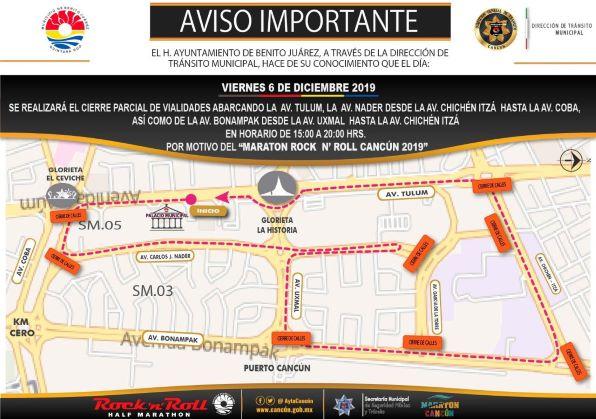 Recuerdan cierre de avenidas viernes y sábado en Cancún