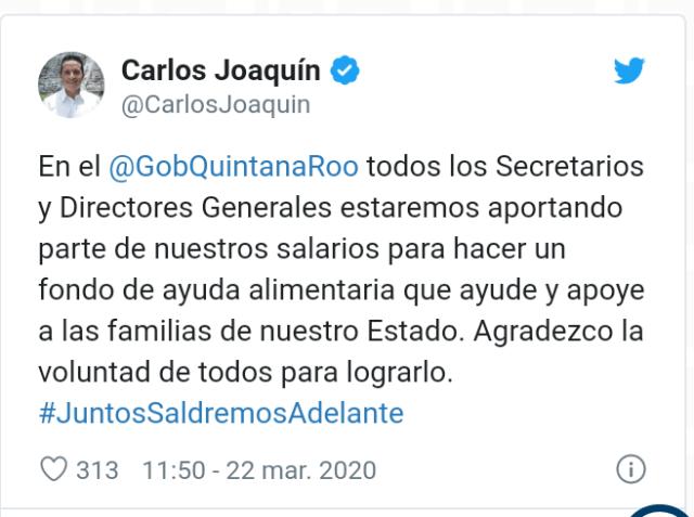 Quintana Roo se prepara con un fondo de ayuda alimentaria para la gente: Carlos Joaquín