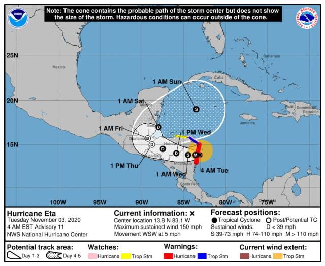 """Huracán """"Eta"""" a más de 700 kilómetros de Quintana Roo, sin afectar costas mexicanas"""