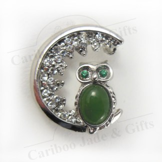 BC jade owl pendant brooch