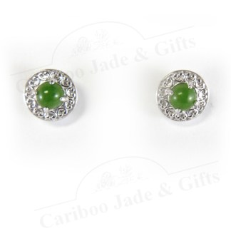 Sterling Silver nephrite jade stud earrings