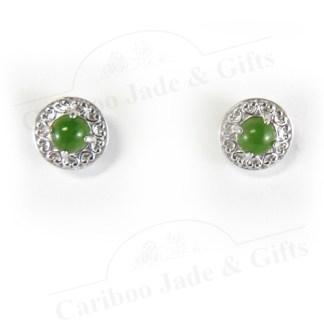 Sterling Silver nephrite jade stud earrings