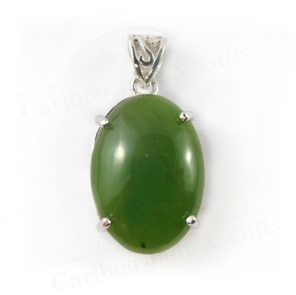 BC nephrite jade sterling silver pendant