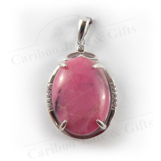 rhodonite oval sterling silver pendant