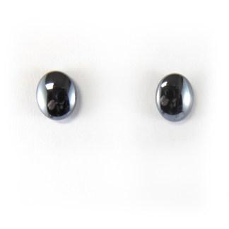 hematite oval cabochon earrings