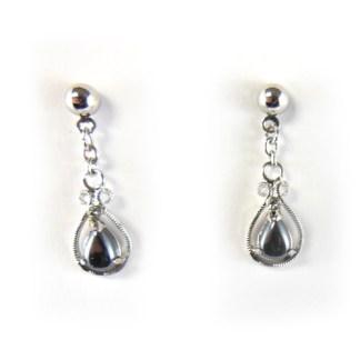 hematite teardrop earring