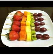 My fresh homemade fruit kebabs