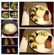 My home-cooked glazed salmon with jasmine rice, sautéed shrimp and veggies, sweet potato.