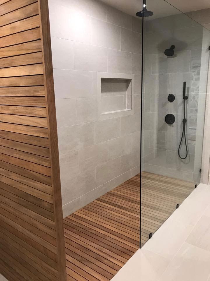 HGTV Teak Shower Floor  Carib Teak
