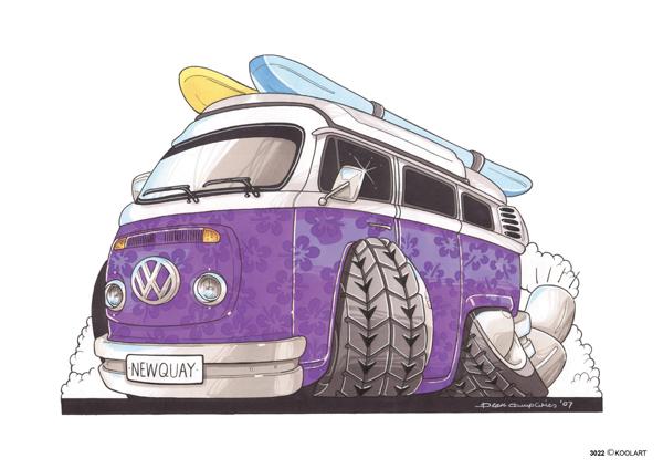 VW Combi Fleurs Violettes