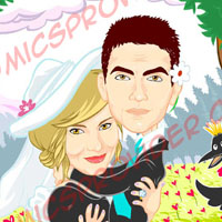 caricatura sposi in vettoriale