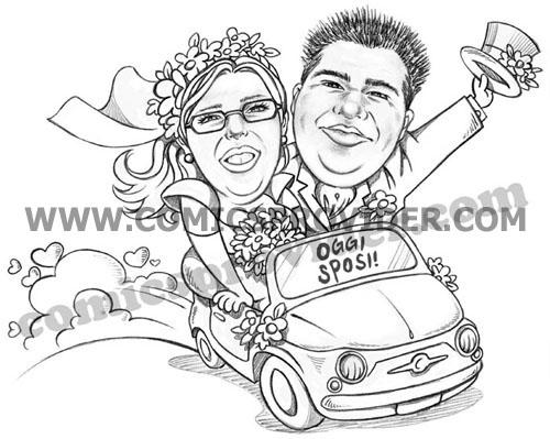 Caricatura sposi in 500