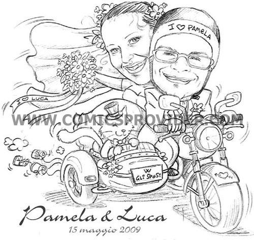 Sposi su sidecar