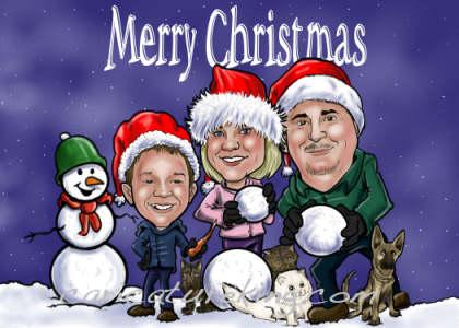 Custom Greeting Card Caricatures Christmas Card Design