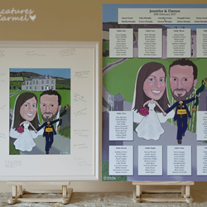 Caricature Guest signing board and Caricature Table Plan