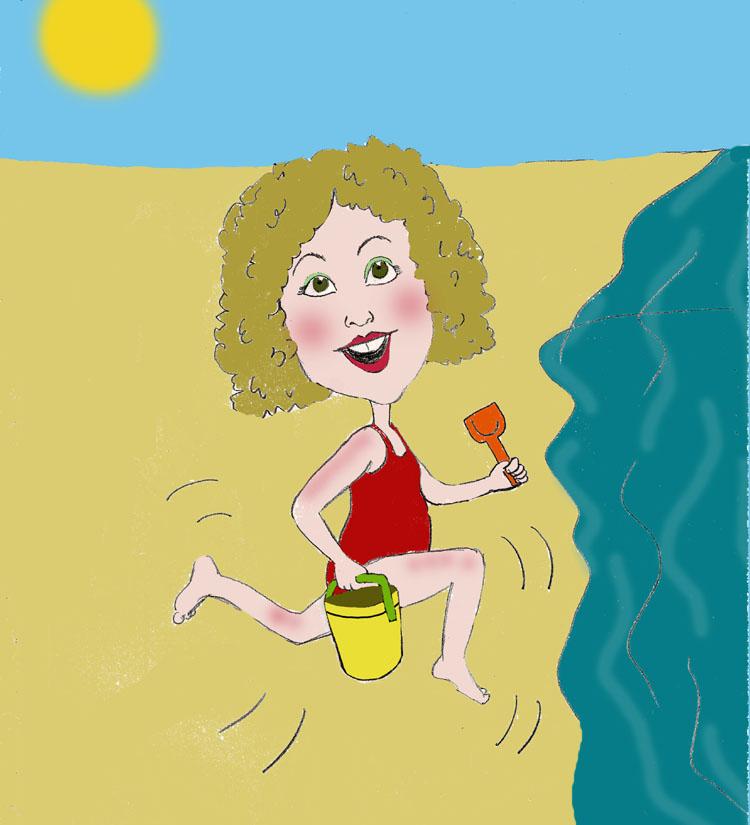 Fun in the sun caricature on the beach